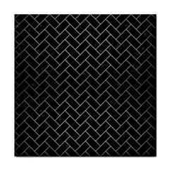 Brick2 Black Marble & Silver Brushed Metal Tile Coaster by trendistuff