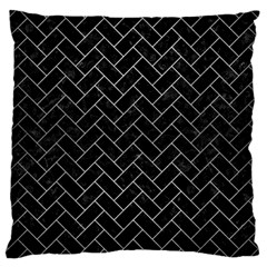 Brick2 Black Marble & Silver Brushed Metal Large Cushion Case (one Side) by trendistuff