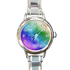Rainbow Watercolor Round Italian Charm Watch by StuffOrSomething