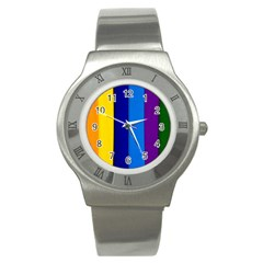 Rainbow Painting On Wood Stainless Steel Watch by StuffOrSomething