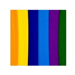 Rainbow Painting On Wood Small Satin Scarf (Square) by StuffOrSomething