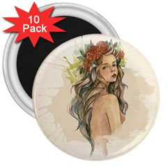Beauty Of A Woman In Watercolor Style 3  Magnets (10 Pack)  by TastefulDesigns