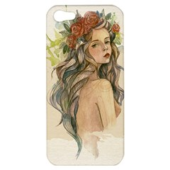 Beauty Of A Woman In Watercolor Style Apple Iphone 5 Hardshell Case by TastefulDesigns
