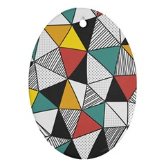 Colorful Geometric Triangles Pattern  Oval Ornament (two Sides) by TastefulDesigns