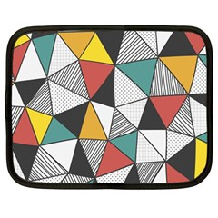 Colorful Geometric Triangles Pattern  Netbook Case (large) by TastefulDesigns