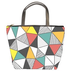 Colorful Geometric Triangles Pattern  Bucket Bags by TastefulDesigns