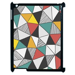 Colorful Geometric Triangles Pattern  Apple Ipad 2 Case (black) by TastefulDesigns
