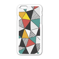 Colorful Geometric Triangles Pattern  Apple Iphone 6/6s White Enamel Case by TastefulDesigns