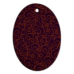 Seamless Orange Ornaments Pattern Ornament (oval)  by TastefulDesigns