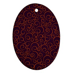 Seamless Orange Ornaments Pattern Oval Ornament (two Sides) by TastefulDesigns