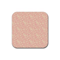 Girly Pink Leaves And Swirls Ornamental Background Rubber Square Coaster (4 Pack)  by TastefulDesigns
