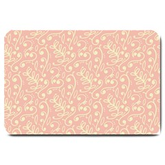 Girly Pink Leaves And Swirls Ornamental Background Large Doormat  by TastefulDesigns