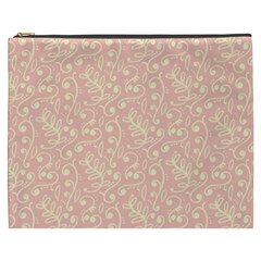 Girly Pink Leaves And Swirls Ornamental Background Cosmetic Bag (xxxl)  by TastefulDesigns