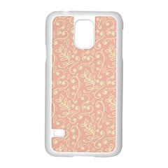 Girly Pink Leaves And Swirls Ornamental Background Samsung Galaxy S5 Case (white) by TastefulDesigns