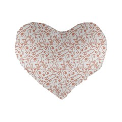 Hand Drawn Seamless Floral Ornamental Background Standard 16  Premium Flano Heart Shape Cushions by TastefulDesigns