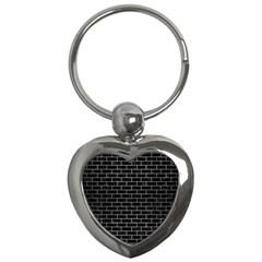 Brick1 Black Marble & Silver Brushed Metal Key Chain (heart) by trendistuff