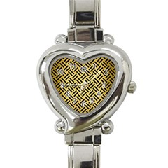 Woven2 Black Marble & Gold Brushed Metal (r) Heart Italian Charm Watch by trendistuff