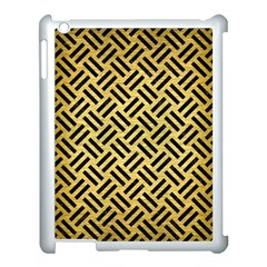 Woven2 Black Marble & Gold Brushed Metal (r) Apple Ipad 3/4 Case (white) by trendistuff