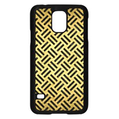 Woven2 Black Marble & Gold Brushed Metal (r) Samsung Galaxy S5 Case (black) by trendistuff