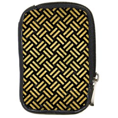 Woven2 Black Marble & Gold Brushed Metal Compact Camera Leather Case by trendistuff