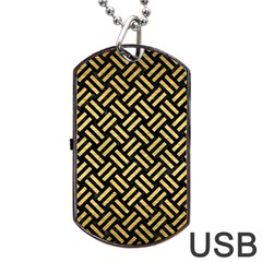 Woven2 Black Marble & Gold Brushed Metal Dog Tag Usb Flash (one Side) by trendistuff