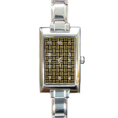 Woven1 Black Marble & Gold Brushed Metal Rectangle Italian Charm Watch by trendistuff