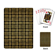 Woven1 Black Marble & Gold Brushed Metal Playing Cards Single Design by trendistuff