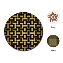 Woven1 Black Marble & Gold Brushed Metal Playing Cards (round) by trendistuff