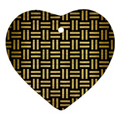 Woven1 Black Marble & Gold Brushed Metal Heart Ornament (two Sides) by trendistuff