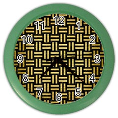 Woven1 Black Marble & Gold Brushed Metal Color Wall Clock by trendistuff