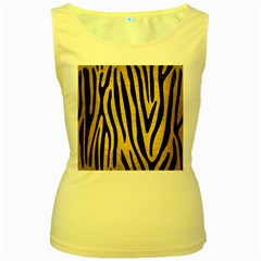 SKN4 BK MARBLE GOLD Women s Yellow Tank Top by trendistuff