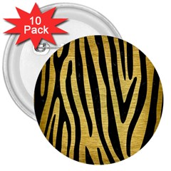 SKN4 BK MARBLE GOLD 3  Buttons (10 pack)  by trendistuff