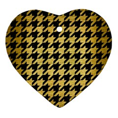 Houndstooth1 Black Marble & Gold Brushed Metal Ornament (heart) by trendistuff