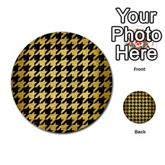 Houndstooth1 Black Marble & Gold Brushed Metal Multi Purpose Cards (round) by trendistuff