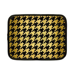 Houndstooth1 Black Marble & Gold Brushed Metal Netbook Case (small) by trendistuff