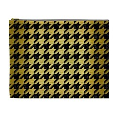 Houndstooth1 Black Marble & Gold Brushed Metal Cosmetic Bag (xl) by trendistuff