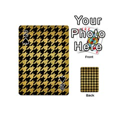 Houndstooth1 Black Marble & Gold Brushed Metal Playing Cards 54 (mini) by trendistuff