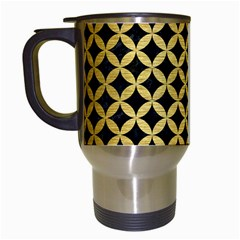 Circles3 Black Marble & Gold Brushed Metal Travel Mug (white) by trendistuff