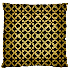 Circles3 Black Marble & Gold Brushed Metal Large Flano Cushion Case (one Side) by trendistuff