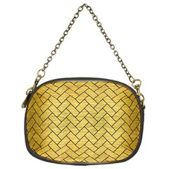 Brick2 Black Marble & Gold Brushed Metal (r) Chain Purse (two Sides) by trendistuff