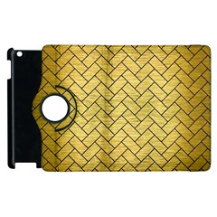 Brick2 Black Marble & Gold Brushed Metal (r) Apple Ipad 3/4 Flip 360 Case by trendistuff