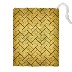 Brick2 Black Marble & Gold Brushed Metal (r) Drawstring Pouch (xxl) by trendistuff