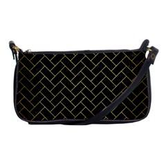 Brick2 Black Marble & Gold Brushed Metal Shoulder Clutch Bag by trendistuff