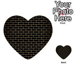 Brick1 Black Marble & Gold Brushed Metal Multi Purpose Cards (heart) by trendistuff