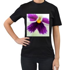 Purple Violet White Flower  Women s T Shirt (black) (two Sided) by yoursparklingshop