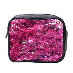 Festive Hot Pink Glitter Merry Christmas Tree  Mini Toiletries Bag 2 Side by yoursparklingshop