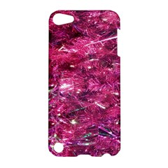 Festive Hot Pink Glitter Merry Christmas Tree  Apple Ipod Touch 5 Hardshell Case by yoursparklingshop