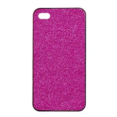 Metallic Pink Glitter Texture Apple Iphone 4/4s Seamless Case (black) by yoursparklingshop