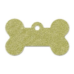 Festive White Gold Glitter Texture Dog Tag Bone (one Side) by yoursparklingshop