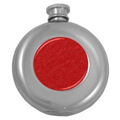 Festive Red Glitter Texture Round Hip Flask (5 Oz) by yoursparklingshop